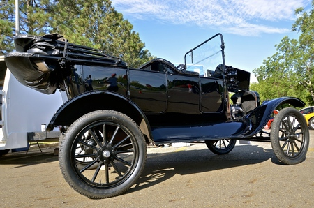 lizzie: BISMARCK, NORTH DAKOTA, August 6, 2016: The Capital AFair in Bismarck features the Fords and Mustangs car show where the 1913 black Ford Model T is displayed.