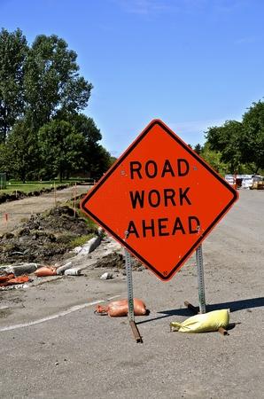 Road Work Ahead sign warning motorists of construction.