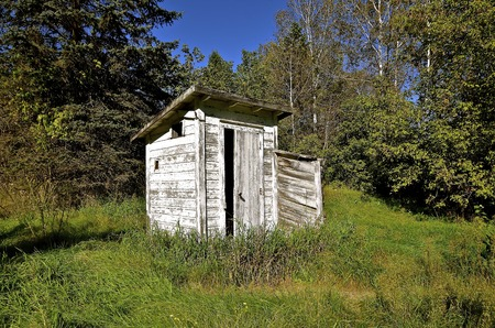 latrine: An old white wood peeling outhouse is located along the edge of a woods.