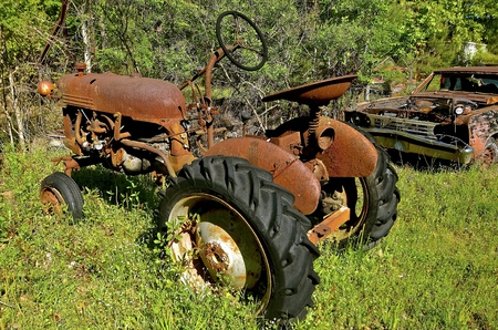 Old rusty tractor parked in the weeds, woods,  and grass Stock Photo