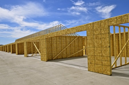 Series of double stall garages under construction for an apartment  s Stock fotó - 78281749