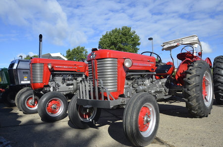 YANKTON, SOUTH DAKOTA, August 19, 2106: The restored Massey Fergusson  tractors are displayed at the annual Riverboat Days celebrated the third weekend of August in Yankton.