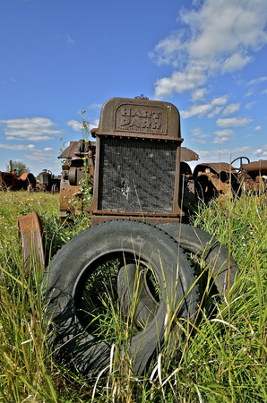 BARNESVILLE, MINNESOTA, September 14, 2014: The old rusty Parr comes from Hart-Parr Tractor Company which began operations in 1897 and sold out to Oliver Tractor company in 1929