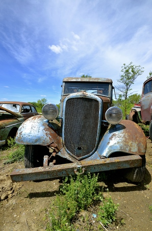 LAKE PARK MINNESOTA, July 15, 2016: The blue old pickup with a homemade bumper is a Chevrolet, colloquially referred to as Chevy and formally the Chevrolet Division of General Motors Company, is an American automobile division of the American manufacturer Redakční
