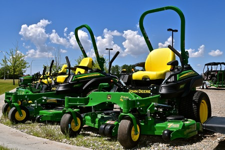 MOORHEAD, MINNESOTA, May 31, 2015: The new John Deere Riding ZTrak  lawn mowers are products of the John Deere Co, an American corporation that manufactures agricultural, construction, forestry machinery, diesel engines, and drivetrains.