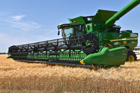 MOORHEAD, MINNESOta, July 22, 2017: Anheuser-Busch sponsored Grower Days honoring farming who grow barley for the malting process which included displaying a John Deere self propelled combine in harvesting the barley. Editorial