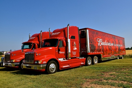 MOORHEAD, MINNESOta, July 22, 2017: Anheuser-Busch sponsored Grower Days honoring farming who grow barley for the malting process which included displaying the trucks used to haul supplies and the Clydesdale horses.