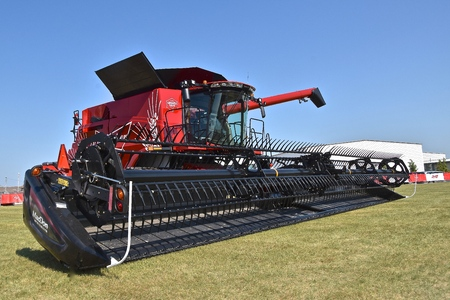 MOORHEAD, MINNESOta, July 22, 2017: Anheuser-Busch sponsored Grower Days honoring farming who grow barley for the malting process which included displaying the Budweiser custom painted self propelled combine. Editorial