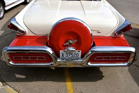 CASSELTON, NORTH DAKOTA, July 27, 2017: The annual Casselton Car Show which occurs the last Thursday of July features classic vehicles such as the 1958 two door Mercury Montclair Turnpike Cruiser.