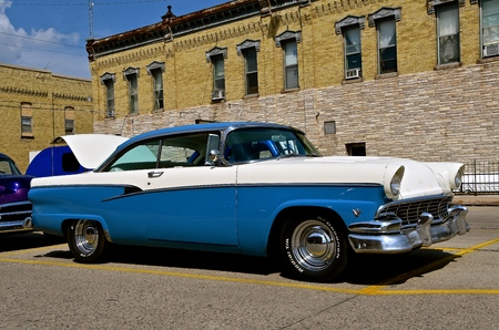 CASSELTON, NORTH DAKOTA, July 27, 2017: The annual Casselton Car Show which occurs the last Thursday of July features classic vehicles such as the 1955 Ford