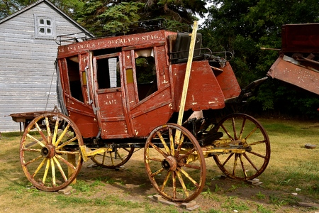JAMESTOWN, NORTH DAKOTA, July 26, 2017:  The old rickety Wells Fargo stagecoach is a product of the Wells Fargo Co. founded 1690 years ago by  Henry Wells and William G. Fargo