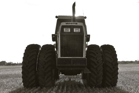 when: MOORHEAD, MINNESOTA, AUGUST 14, 2017: The White silhouetted tractor was produced by AGCO from 1991 through 2001 when the White line was merged with AGCO-Allis to create the AGCO brand