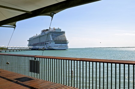 CARIBBEAN OFF OF BELIZE, February 21, 2017: The Norwegian Getaway anchored in the Caribbean Sea belongs to the Norwegian Cruise Line Holdings is a Bermuda-incorporated, US-headquartered company operating cruise ships, and headquartered in unincorporated M