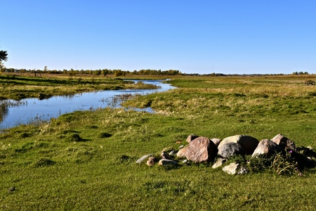 A slow moving creek meanders through a cattle pasture and by a pile of large rocks