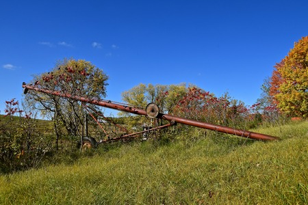 An old rusty tube grain elevator is left in an autumn colored grove. Stock Photo