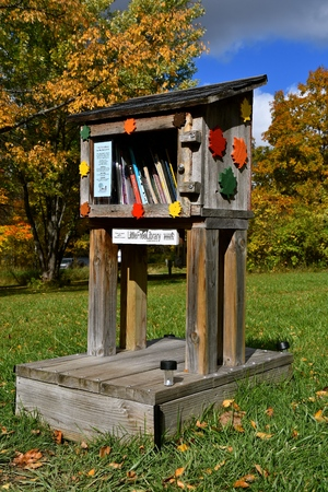 MAPLEWOOD STATE PARK, MINNESOTA, October 3, 2017: The Little Free Library located in a rural state park was incorporated in 2012 and is a  nonprofit organization aimed to inspire a love of reading, build community, and spark creativity by fostering neighb
