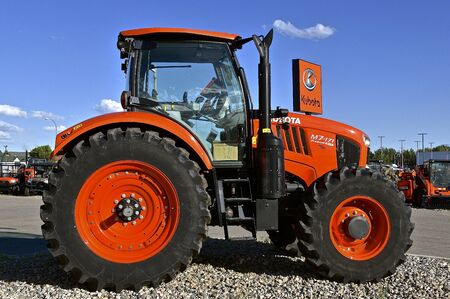 FARGO, NORTH DAKOTA, Aug 12, 2017: The Kubota M7-71 tractor on display is a of product of Kubota Corporation, a tractor and heavy equipment manufacturer based in Osaka, Japan, established in 1890. Editorial