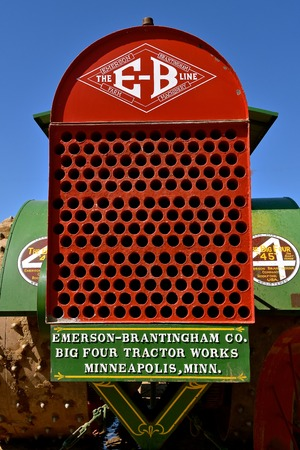 ROLLAG, MINNESOTA, Sept 3. 2017: The grill indicates an Emerson Brantingham steam engine  displayed at the annual WCSTR farm show in Rollag held each Labor Day weekend where 1000s attend. Editorial