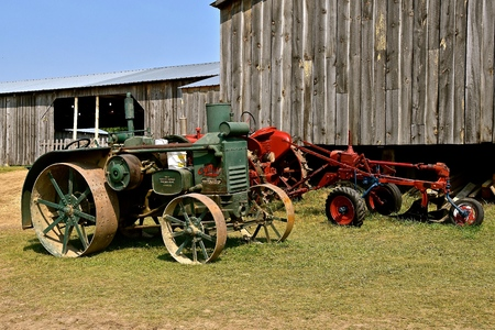 ROLLAG, MINNESOTA, Sept 2, 2017: An Advance Rumely Oil Pull old tractor is displayed at the annual WCSTR farm show in Rollag held each Labor Day weekend where 1000s attend.