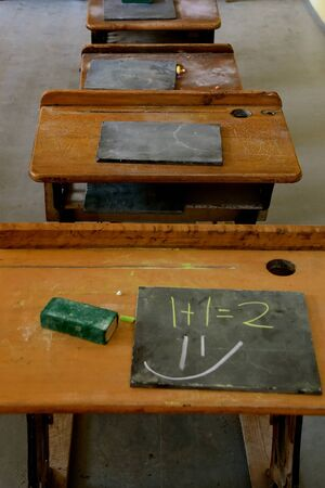 Old  wood school desks with slate boards in a one room rural schoolhouse