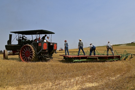 ROLLAG, MINNESOTA, Sept 2, 2017: A Peerless Geiser Works steam engine demonstrates gan plowing at the annual WCSTR farm show in Rollag held each Labor Day weekend where 1000s attend. Editorial