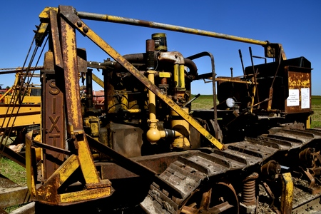 DALTON, MINNESOTA, Sept 8, 2017: An old SIXTY Caterpillar used for road construction is displayed at the annual Dalton Threshing Bee farm show in Dalton held each 2nd full weekend in September where 1000s attend.