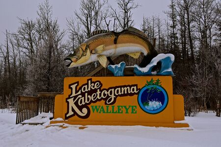 LAKE KABETOGAMA, January 20, 2018:  The leaping Walleye Fish fiberglass statue established in 1949 is managed by the Kabetogama Lake Association.