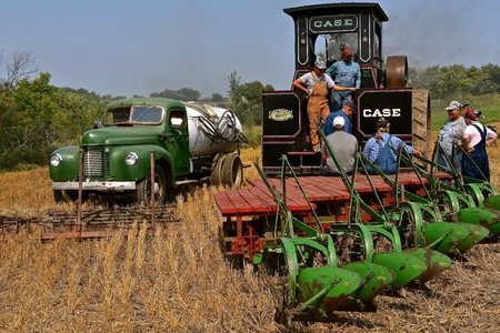 ROLLAG, MINNESOTA, Sept 2, 2017:Peerless Geiser Works steam engine gang plow team rest after demonstrating at the annual WCSTR farm show in Rollag held each Labor Day weekend. Editorial