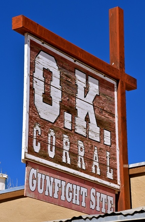 TOMBSTONE, ARIZONA, February 6 ,2018: The O.K. Corral Gun Fight Site sign is in Tombstone AZ, a historic western city founded in 1879.