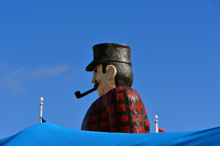BEMIDJI, MINNESOTA, September 26, 2017: The legendary Paul Bunyan  and Babe statutes are a tourist attraction run by the parks system of Bemidji, Minnesota. Editorial