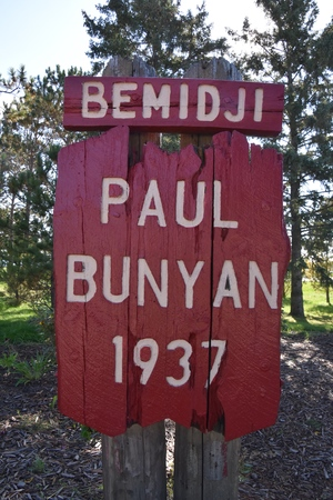 BEMIDJI, MINNESOTA, September 26, 2017: The legendary Paul Bunyan  and Babe statutes are a tourist attraction run by the parks system of Bemidji, Minnesota. Editorial