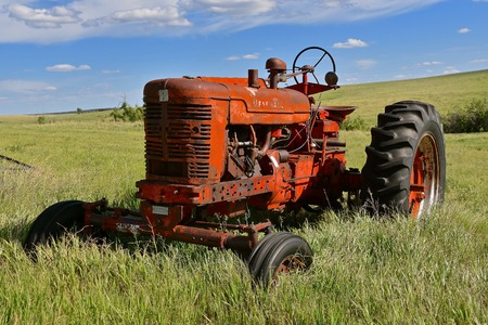 FIRESTEEL, SOUTH DAKOTA, June 22, 2017: The old wide front M Farmall tractor was a model name and later a brand name for tractors manufactured by the American company International Harvester IH