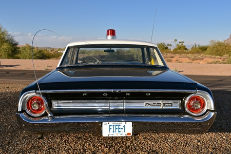 MESA, ARIZONA, February 5, 2018: The Sheriff of Mayberry 64 Ford Galaxy car with Fife license plates replicates the televison show of Andy Griffith.