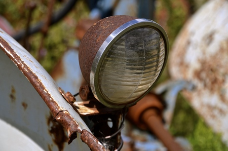 Old headlight from a vintage tractor