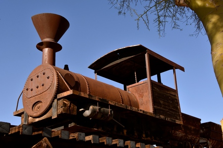 A very old steam powered engine for pulling extracted metals from an open mine pit Banco de Imagens