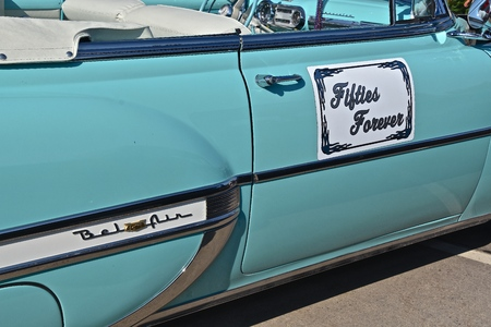 WEST FARGO, NORTH DAKOTA, July 19, 2017: The West Fargo Cruise night occurs each 3rd Thursday night in the summer months and features classic cars such as this side profile of a 1954 Chevrolet Belair