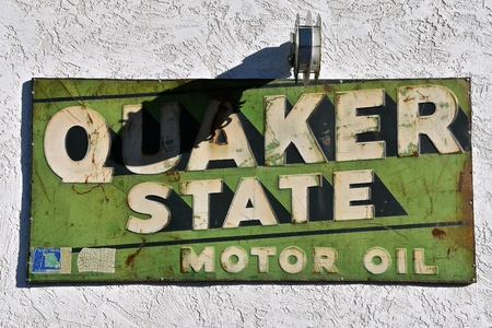 CORNVILLE, ARIZONA, January 30, 2018: The old quaker state sign represents Quaker State  Motor Oil, an American brand of oil produced by SOPUS Products, a division of Royal Dutch Shell,