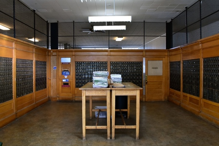JEROME, ARIZONA, January 30, 2018: Inside the United States Post Office of Jerome, Arizona with individual lock boxes for each resident of the city