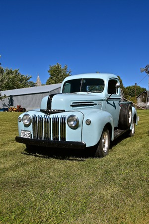 DALTON, MINNESOTA, Sept 8, 2017: A restored beautiful Ford pickup from the 50s will be displayed at the annual September Dalton, MN tractor show where 1000s attend. Editorial