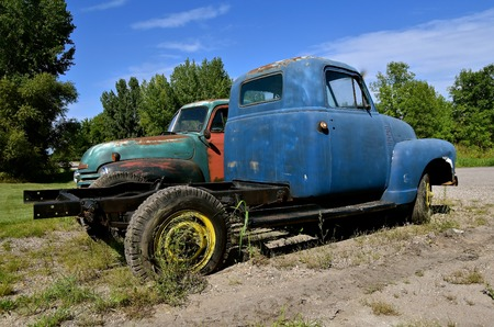 HAWLEY, MINNESOTA, August 22, 2017: The old pickups from the 40`s or 50`s, are  Chevrolets, colloquially referred to as Chevy and formally the Chevrolet Division of General Motors Company, is an American automobile division of the American manufactur