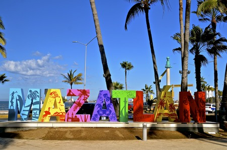MAZATLAN, MEXICO, January 31, 2017: The letters of MAZATLAN and art work welcome tourists to the area sponsored by the Mazatlan Business Association.