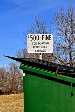 A fine of $500 is applied to any household garbage in a dumpster at a rest stop