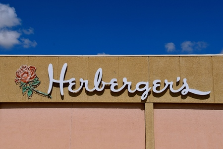 MINNESOTA, MINNESOTA, APRIL 26, 2018:  The logo represents Herbergers,  a chain of department stores  in the Midwest which began in Osakis, MN  and is now owned by Bon-Ton.