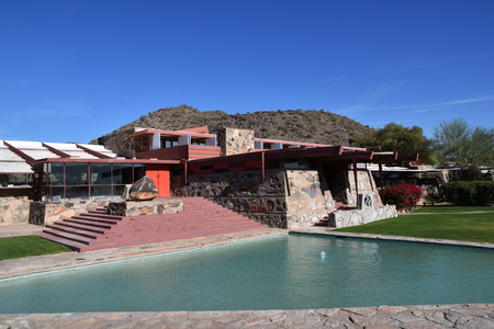 SCOTTSDALE, ARIZONA, January 28, 2018, An architectural view of  Taliesin West, the winter home of  architect Frank Lloyd Wright and architectural school in the desert near Scottsdale, Arizona originating in 1937. Stockfoto - 100722784