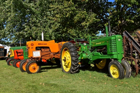 DALTON, MINNESOTA, Sept 8, 2017:  Restored B John Deere  and Minneapolis Moline tractors are displayed at the annual September Dalton, MN Threshing and Farm  show where 1000s attend the second full weekend.