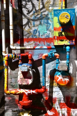 RAPID CITY, SOUTH DAKOTA, May 23, 2018: The paint graffiti art is found in Art Alley, Rapid City began as a public art project in 2005 and has become a living tribute to freedom of expression between 6th and 7th street.