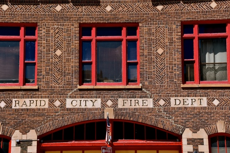 A building front indicates it is the home of the Rapid City Fire Department in South Dakota.