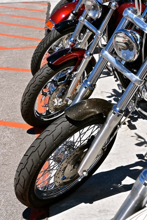 The front wheel and forks of motorcycles parked in a row