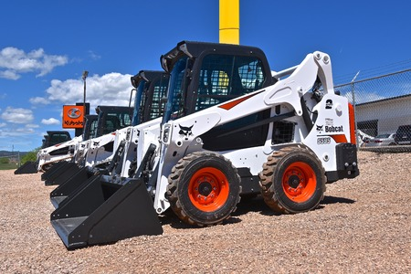 RAPID CITY, SOUTH DAKOTA, DAKOTA, May 23 2018: The S535 Bobcat skid steer parked in in a sales lot is headquartered in West Fargo, North Dakota.