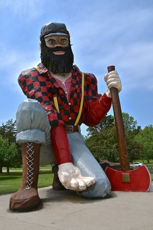 AKELEY, MINNESOTA, June 14, 2018: The statue of Paul Bunyan is found in Akeley, MN at the Memorial Park managed by the local Chamber of Commerce.